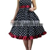 Strapless polka dot swing dress