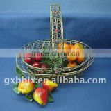 Rust egg shaped wire decorative with red pearl storage decorative baskets for wedding