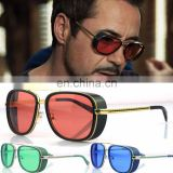 Mens Square Tony Stark Iron Men Sunglasses Retro Transparent Lens AS018