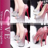 Hot Selling Gradient Sequined Waterproof High Heels Shoes,Mature Women Sexy Heels,Fashion Bling Wedding Shoes