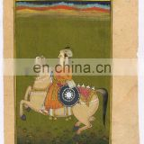 Mughal Equestrian Handmade Painting Wall Decor Art Ethnic Hand Painted Water Color Original Painting