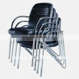 Black pu stackable metal chair 6064C