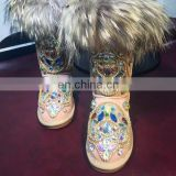 Aidocrystal 2016 fashion Colorful AB Rhinestone Crystal Studded faux fur collar kids adult women bling snow boots big size 43