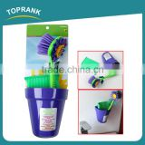 Toprank New Design Kitchen Super Cleaning Ability Flower Shaped Cleaning Brush Set Sponge Dish Scrubber Brush With Sucker
