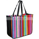 Colorful Promotional Handle Women Stripe Polyester Bag