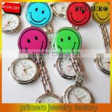 Top Quality!Clip Nurse Doctor stainless steel pendants Pocket Quartz Smile Brooch Nurses Watch For medical