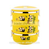 panda stainless steel lunch box /jqn panda bamboo 3 layer stainless steel sealed thermal insulation lunch box/ fancy dinnerware