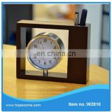 Special design wooden penholder with clock brand name stationery