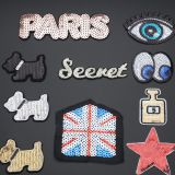 Factory direct custom iron on embroidered sequin appliques