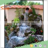 2016 New Outdoor water fountains waterfalls artificial fiberglass garden rock waterfall decoration