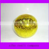 Party Decoration Hanging Yellow Sparkling Glass Polished Hollow Glass Ball