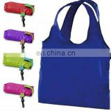 customized nylon foldable reusable shopping bag put into a small pouch bag