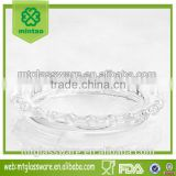 Clear dinnerware,glass round shaped plate beaded