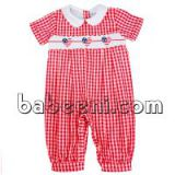 Cute heart hand smocked boy bubble romper - BC 673