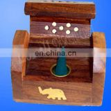 WOOD MINI INCENSE CONE BURNER BOX ELEPHANT INLAY