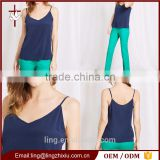 Lastest Designs 100% Silk Adjustable Strap Women Tops Wholesale