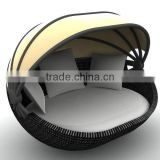 synthetic rattan daybed with canopy shell shape