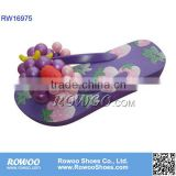 grape decorated wedge heel slippers