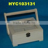 unfinished wooden sewing box with glass lid