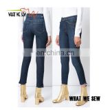 Blue sweeping racer custom skinny jeans women latest design denim jeans pants