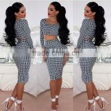 Plover grid printing two-piece outfit bandage dress, dress women, sexy nighty dress picture
