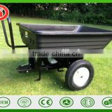 Move car heavy dump tray tool cart bucket hopper Trailer wheel barrow for ride on lawn mower, garden tractor ATV tractor