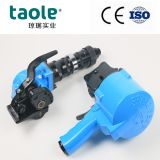 Split pneumatic steel strapping tool tensioner and sealer
