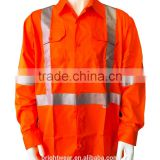 Australia hi-vis long sleeve cotton drill shirts with 3M8906 reflective tape