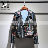 New Arrival Embroidery Leather Jacket for Women Real Motorcycle Leather Jacket