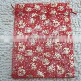20116 most popular chirstmas polyester glitter organza bag custom made gift draw bag