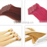 Wholesale price 6A grade top quality Brazilian virgin hair double drawn colorful tape hair extensions
