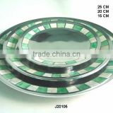 Round Aluminium plate with mosaic of bone