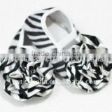 Baby Zebra Crib Shoes with Zebra Rosettes MAS37