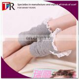 wholesale women 100% cotton leg warmer with lace