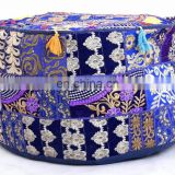 Traditional Indian Patchwork Embroidery Design Ottoman Pouf Cover