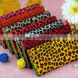 Fashion leopard print young girl wallet with zipper lock