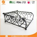 WI2904 'Heart' Black 18x18cm Metal Wire Napkin Holder