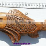 Wooden fish. hand carved statue sculpture sea ocean theme art carving, Ecuador