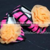 Hot Pink Zebra Print Shoes with Orange Rosettes Pettishoes Crib Shoes MAS25