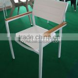 coffee shop metal aluminum dining chair stackable in white sling fabric seat and back with wood armrest outdoor specific use