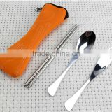 High Quality 3 Pcs/lot New Fork Spoon Chopstick Travel Stainless Steel Cutlery Portable Bag Picnic