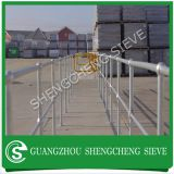 Industry used ball joint handrail stanchions connect to steel grating