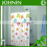 hot sales heat transfer printing customized logo waterproof beautiful butterfly hook shower curtain