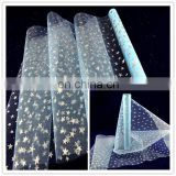 2016 best selling christmas wrapping packing roll glitter star dot printed organza gift wrap