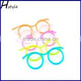 Hot Selling Plastic DIY Drinking Straw eyeglasses,Silly Straw Glasses,Amazing Straw Glasses(Random Color) SC003