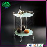 Commercial Restaurant Serving Trolley Decorative Trolley Cart Clear Glass Top Wine Trolley