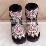 Aidocrystal wholesale new arrival handmade rhinestone fashion women half snow boots girls beautiful warm winter boots