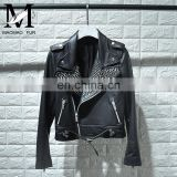 High Quality Custom Design Fashion Motocycle Jackets Black Short Women Biker Leather Jacket