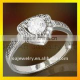 wholesale fine jewelry high quality heart silver ring with fast delivery paypal acceptable