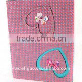 Heart Bowknot and Colored Dots Decorated Flocking Cloth Wrapping Ring Binder Desktop File Folder for Office Stationery Cardboard